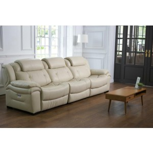 Divani Casa Samson Modern Ivory Leather Sofa w/ Electric Recliners
