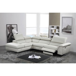 Good Divani Casa Maine Modern Light Grey Eco Leather Sectional Sofa W/ Recliner