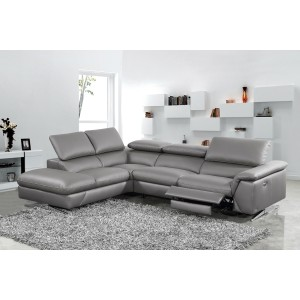 Divani Casa Maine Modern Dark Grey Eco-Leather Sectional Sofa w/ Recliner