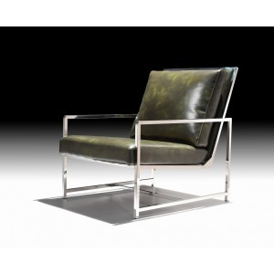 Divani Casa Milo Modern Dark Green Leatherette Accent Chair