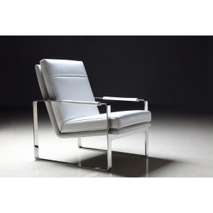 Divani Casa Maru Modern White Leatherette Accent Chair