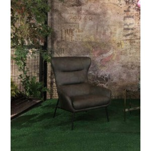Divani Casa Susan Modern Dark Grey Leatherette Lounge Chair