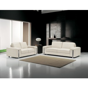 Estro Salotti Modern White Leather Sofa Set