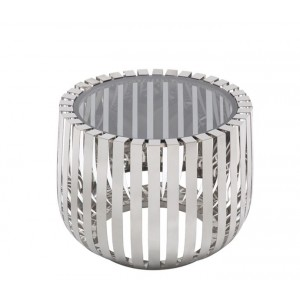 Modrest Cage Modern Stainless Steel End Table w/ Glass Top