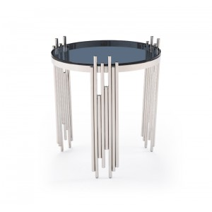 Modrest Totem Modern Stainless Steel & Smoked Glass End Table