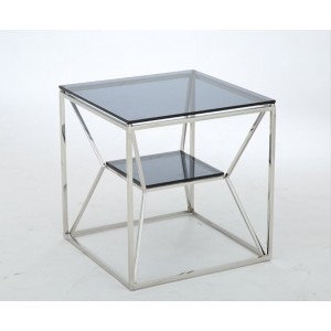 Modrest Facet Contemporary Smoked Glass End Table