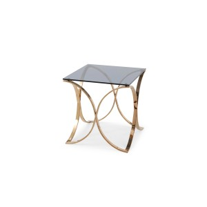 Modrest Reklaw Modern Smoked Glass & Rosegold End Table