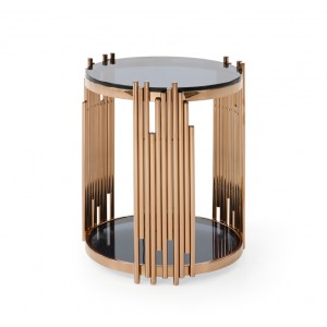 Modrest Bryce Modern Smoked Gl Rosegold Round End Table