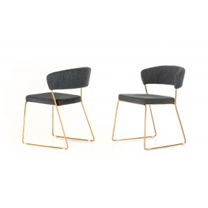 Modrest Ashland Modern Grey & Rosegold Dining Chair