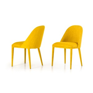 Modrest Brooke Modern Yellow Fabric Dining Chair