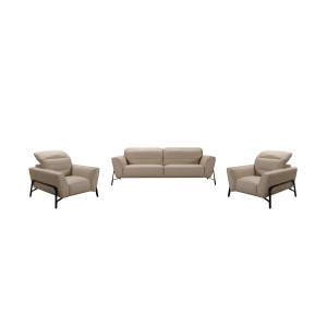 Divani Casa Evora Modern Taupe Leather Sofa & Chair Set