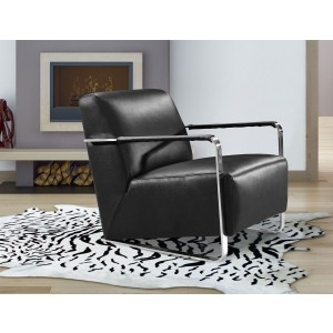 Divani Casa Bison Modern Black Leather Lounge Chair