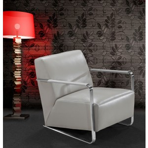 Divani Casa Bison - Modern Grey Leather Lounge Chair