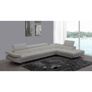 Divani Casa K8489 Modern White Eco-Leather Sectional Sofa w/ Audio System