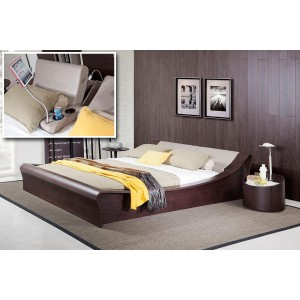 Geneva Contemporary Brown Oak Platform Bed w/ Lights, Cup Holders and iPad Holder