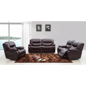 Divani Casa E9023 Modern Brown Italian Leather Sofa Set w/ Electronic Recliners