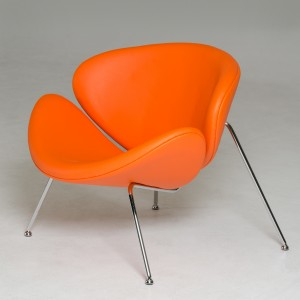 Modrest Anais Contemporary Orange Leatherette Accent Chair