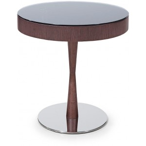 Modrest Jackson - Modern Brown Oak End Table w/ Glass