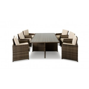 Renava Barcelona - Rectangular Compact Table, 6 Fold-out Chairs, and 6 Individual Ottoman Patio Set
