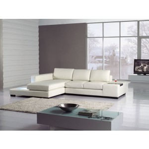 Divani Casa T35-Mini White Eco-Leather Sectional with Light