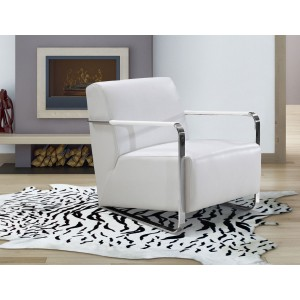 Divani Casa Bison - Modern White Leather Lounge Chair