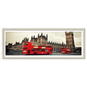 Modrest Red Bus Framed Acrylic Painting