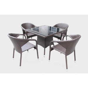 Renava Tobago Outdoor Brown Dining Table Set