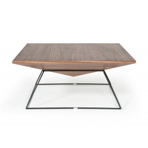 Modrest Gabriel Modern Square Walnut Coffee Table