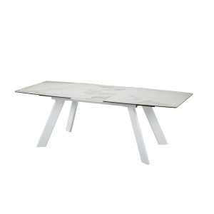 Modrest Decker Modern Extendable Faux Marble & White Dining Table