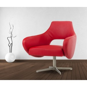 Divani Casa Geranium Modern Red Eco-Leather Lounge Chair