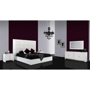 A&X Glam - White Crocodile Lacquer Bed with Faux Crocodile Leather Headboard