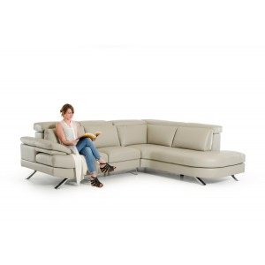 Estro Salotti Glenda Italian Modern Grey Leather Sectional Sofa
