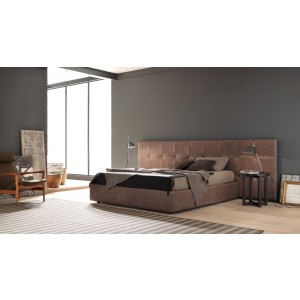 Estro Salotti Gradisca Modern Brown Leather Bed