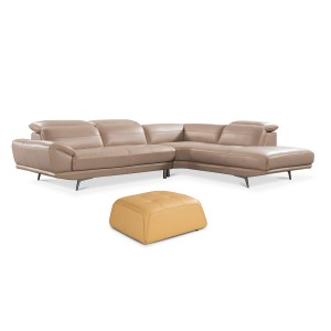 Divani Casa Granger Modern Taupe & Yellow Leather Sectional & Ottoman Set