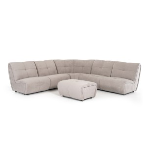 Divani Casa Grenada Modern Grey Fabric Sectional Sofa & Ottoman