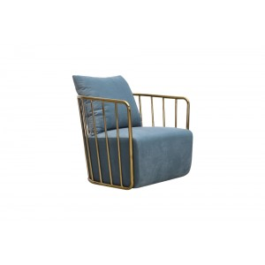 Divani Casa Voss Modern Blue Velvet & Gold Accent Chair