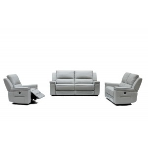 Divani Casa Hearst Modern Grey Leatherette Sofa Set w/ Recliners