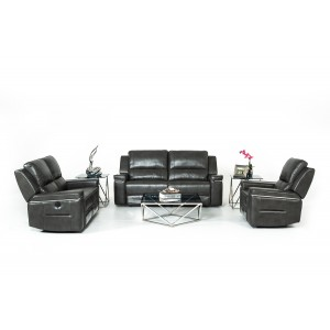 Divani Casa Hearst Modern Dark Grey Leatherette Sofa Set w/ Recliners