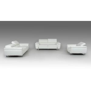Lusso Highline Italian Modern White Top Grain Leather Sofa Set