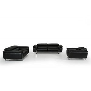 Lusso Highline Italian Modern Black Leather Sofa Set