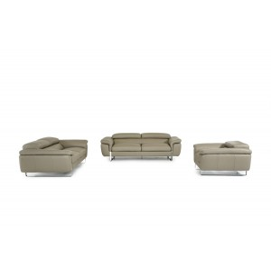 David Ferrari Highline Italian Modern Grey Leather Sofa Set