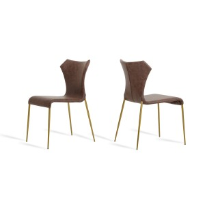 Marcia - Modern Cognac & Antique Brass Dining Chair (Set of 2)