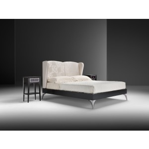 Estro Salotti Icaro Modern White Fabric Bed