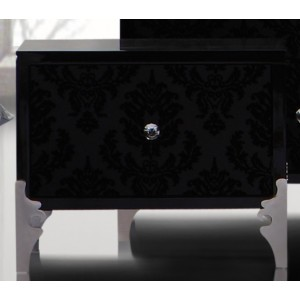 Modrest Prague - Transitional Black Lacquer Nightstand
