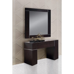 Modrest Hampton Dark Wenge Wall Console With Mirror