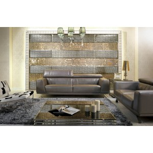 Divani Casa Brustle   Modern Grey Shiny Leather Sofa Set