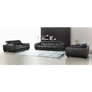 Divani Casa Nantes - Black Italian Leather Tufted Sofa Set