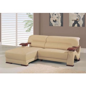 Divani Casa 2033-2 - Modern Beige Bonded Leather Sectional