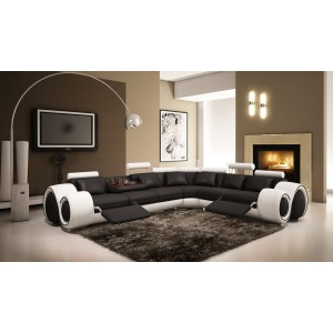 Divani Casa 4087 Modern Black and White Bonded Leather Sectional Sofa