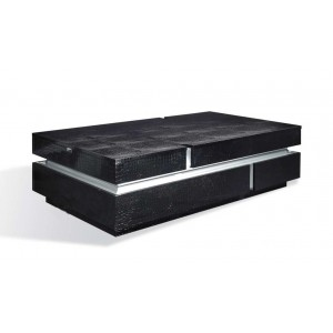 A&X Vdara - Modern Black Faux Crocodilian Coffee Table